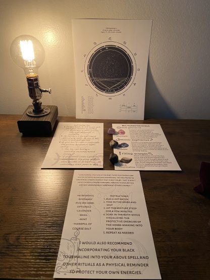 Beginner Pack pictured-crystals, birth chart, and spell